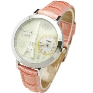 2014 Arrival!! Handmade POLYMER CLAY Korea Cartoon Dress Ladies Women Girl Gift Fashion Watch Wristwatch Eiffel Tower - Pink