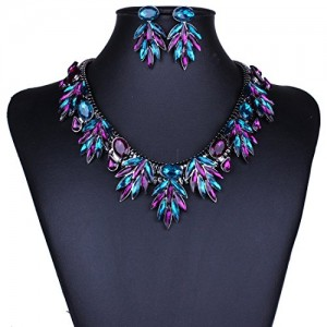 Faceted Rhinestone Dangle Leaf Charm Fringe Bib Choker Collar Necklace Earrings