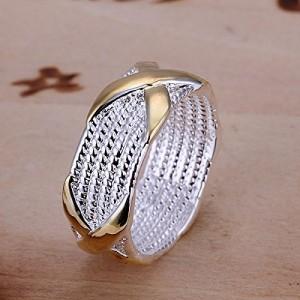 Hot Style Women Two-Tone Silver Plated X Ring Size 7