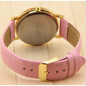 New Fashion Leather Geneva Rose Flower Dress Watches for Women