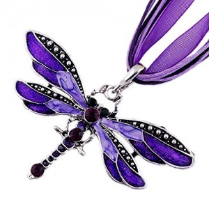 Retro Dragonfly Charms Necklace Chain Rhinestone Inlay Gem tone Pendant
