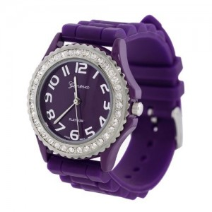 Purple Silicone Gel Ceramic Style Band Crystal Bezel Women`s Watch
