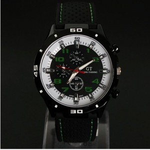 F1 Racing Grand Touring Men`s Military Army Style Green Sports Watches Analog Quartz Black Silicone Strap Green White Color