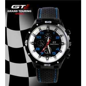 F1 Men`s Grand Touring Military Army Style White Blue Sports Watches Analog Quartz Black Silicone Strap White Blue Color