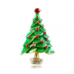 Oyang Beautiful Christmas Tree Brooch Christmas Gift Clothes Accessory Brooch