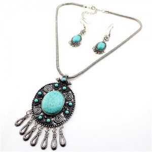 Tibet Silver Tribal Turquoise Blue Bead Pendant Chain Necklace Earrings Set