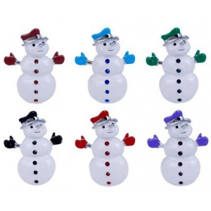 Oyang Fashion Christmas Snowman Alloy Brooch Pin Blue