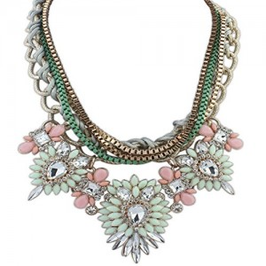 Christmas Hot Multi-Layers Flower Pendant Statement Chunk Collar Necklace Wedding Party
