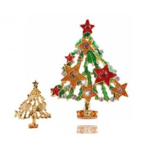 Oyang Fashion Ally Christmas Tree With Crystal Star Oil Drop Brooch Pin