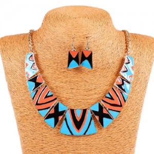 Vintage Style Retro Blue Orange Tribal Geometric Bib Choker Necklace Earring Set