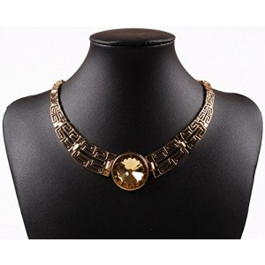 18K Gold Lucky Flower Faceted Rhinestone Pendant Chain Bib Choker Necklace