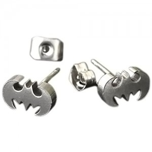 XIUFEN 1 Pair Stainless Steel Men`s Bat Ear Stud Earring 0.7mm Pin (Silver  Bat)