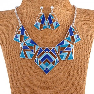 Geometric Oil Drop Silver Chain Tribal Lucky Totem Bib Necklace Earrings Set