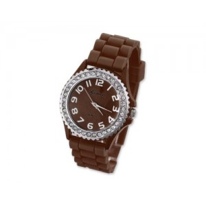 GENEVA Crystal Bezel Large Face Silicone Jelly Sport Teen Women`s Watch - Brown Best Gift for Valentine Birthday Christmas Thanksgiving