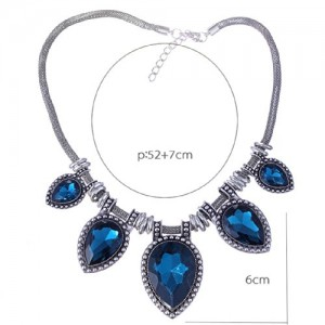 Acrylic Faceted Teardrop Bead Chunky Black Chain Bib Statement Collar Necklace