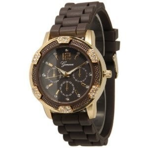 Brown and Gold Crystal Rhinestone Geneva Faux Chronograph Silicone Rubber Jelly Watch