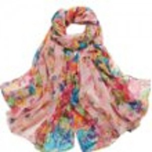 elegant thin large-format floral stall [180㎝ × 107㎝] scarf shawl [various color]
