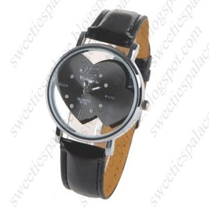 Stylish Round Quartz Wrist Watch with Faux Leather Band for Women Ladies Girls - Black