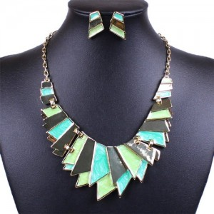 Fashion Green Enamel Bib Link Plaque Dangle Stick Necklace Stud Earrings Set