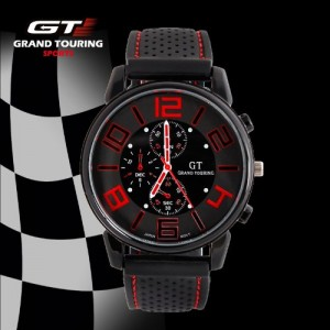 GT Grand Touring Mens Racer Watch Sports Quartz Watch Silicone Strap Military Watch (Red)