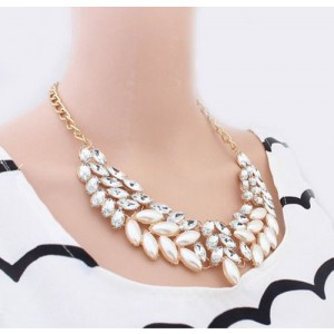 Lady Fashion Pearl Rhinestone Crystal Chunky Collar Statement Necklace