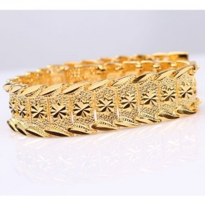 Wrist Chain 24k Gold Plated Noble Men's Women's Bracelets New Design Bangle