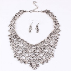 Graffiti Art Deco Filigree Hollow Out Tibet Silver Tribal Necklace Earrings Set