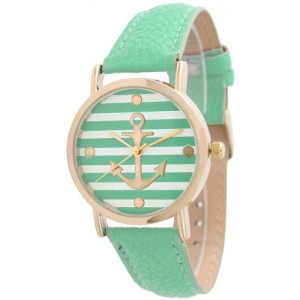 Women`s Geneva Striped Anchor Style Leather Watch - Mint