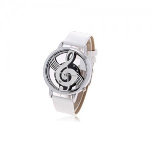 Stylish Women`s Musical Note Pattern Round Dial Wrist Watch Ornament (Silver)