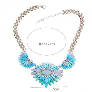 Wide Chain Resin Flower Pendant 18K Gold Bib Statement Choker Necklace