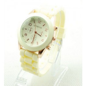 Candy-colored Blue Geneva Silicone Colorful couple of style quartz watches