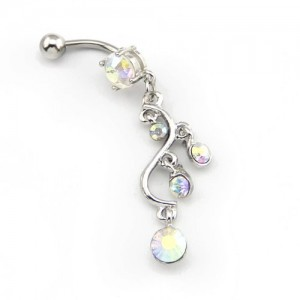 2014 New Fashion 14G Multi-color 5 CZ Gems Long Round Leaf Dangle Navel Ring Belly Bar Button