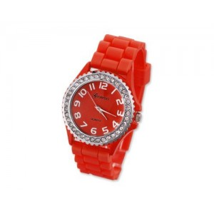 GENEVA Crystal Bezel Large Face Silicone Jelly Sport Teen Women`s Watch - Red Best Gift for Valentine Birthday Christmas Thanksgiving