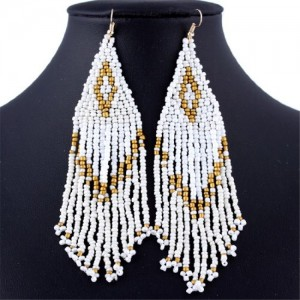 Triangle Royal Pyramid Small Beaded Long Tassel Dangle Hook Earrings