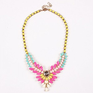 Flower Cluster Y Lariat Pendant Bib Resin Beaded Colorful Multicolored Necklace
