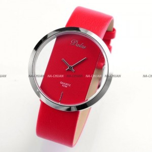 Dalas Red Leather Transparent Dial Fashion Lady Girl Wrist Quartz Watch Gift WAA026