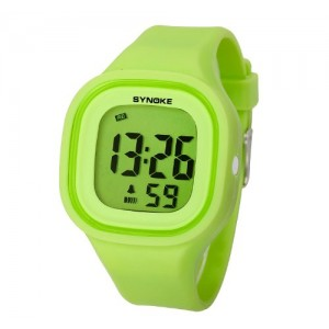 SYNOKE Jelly Diving & Swimming Waterproof Digital Watches Wrist Sports Watches Students Watches with Alarm Chronograph Long lasting battery Calendar Noctilucent (Green)