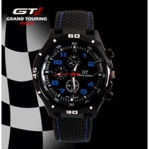 F1 Men`s Grand Touring Military Army Style Blue Sports Watches Analog Quartz Black Silicone Strap Blue Color