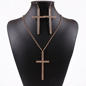 18K Gold Big Cross Faith Pendant Bling Rhinestone Chain Necklace Earrings Set