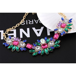 Bling Glass Drill Rhinestone Beaded Flower Cluster Bib Statement Choker Necklace