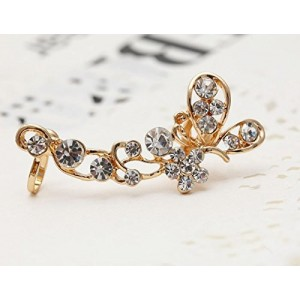 Retro Crystal Butterfly Flower Stud Earring Wrap Clip on Ear Clamp (Gold)