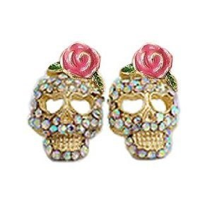 Cz Crusted Skull Pink Flower Flowers Rose Stud Earrings Gift Boxed