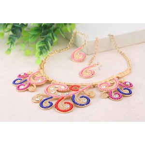 Chinese Antique Vintage Twisted Flower Floral Collar Bib Necklace Earrings Set