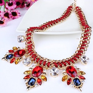 Handmade Rope Twist Dangle Crystal Flower Charm Bib Choker Necklace Earrings Set