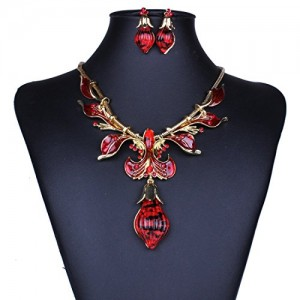 Royal Baroque Flower Floral Enamel Oval Drop Pendant Bib Earrings Necklace Set