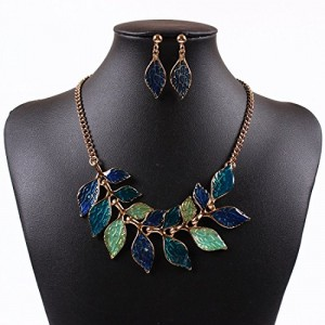Women's 18K Gold Oil Drop Leaf Charms Bib Collar Choker Necklace Earrings Set
