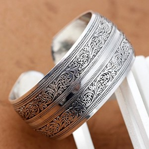 Connecting Branches Carved Tibetan Silver Women Men Cuff Bracelet Bangle Free, Sliver