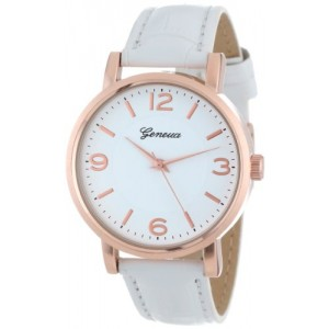 Geneva Women`s 2363-rosegold-GEN  Swarovski Crystal-Accented Watch with Leather Band