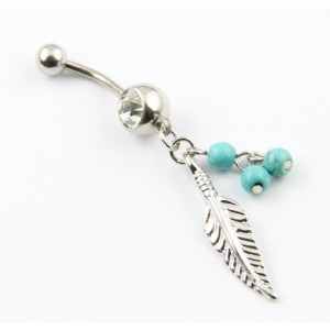 Surgical Steel 14 Guage Leaf Dangle With Blue Beads Navel Belly Button Ring Bar Barbell + Belly Retainer