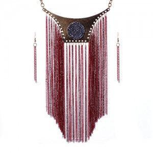 Funky Long Tassel Chain Bling Rhinestone Tribal Jewelry Necklace Earrings Set